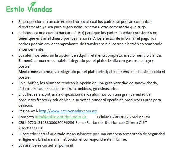 SERVICIO DE COMEDOR. NUEVA EMPRESA. – Argentina School